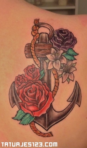Ancla con rosas  Tatuajes 123