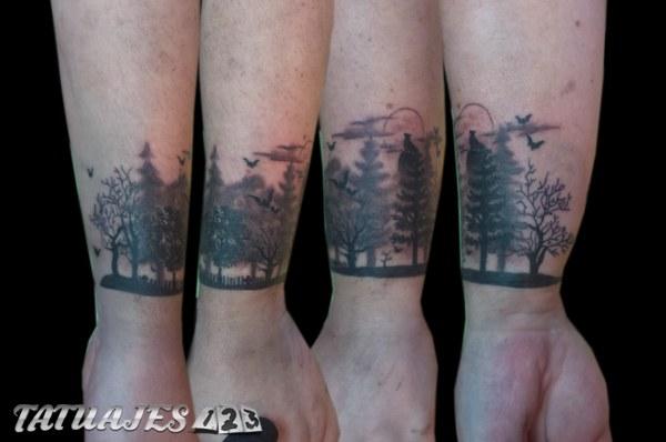 Tatuajes En El Brazo Sombras bosque con sombras - tatuajes 123