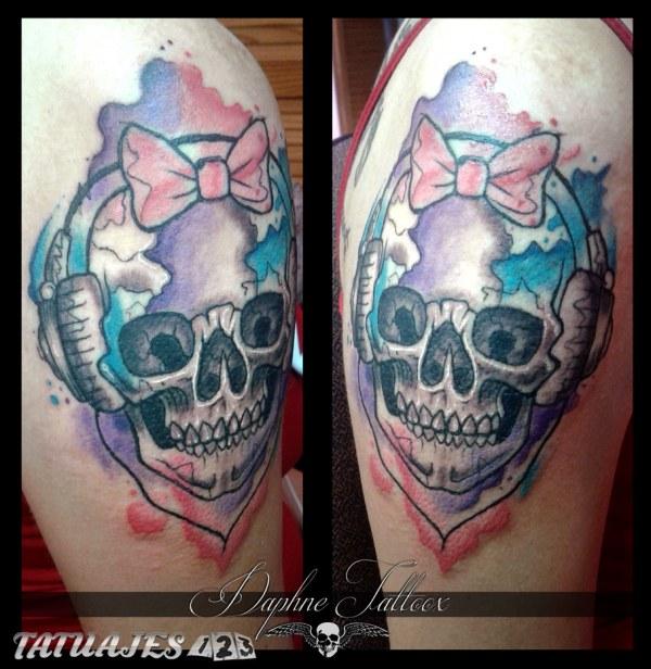 Calavera acuarela tattoo