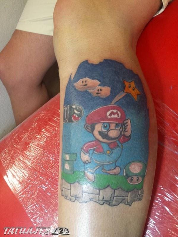 Caricatura de Mario Bros con paisaje
