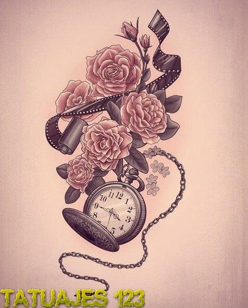 Diseno De Tatuaje Con Flores Y Reloj Tatuajes 123
