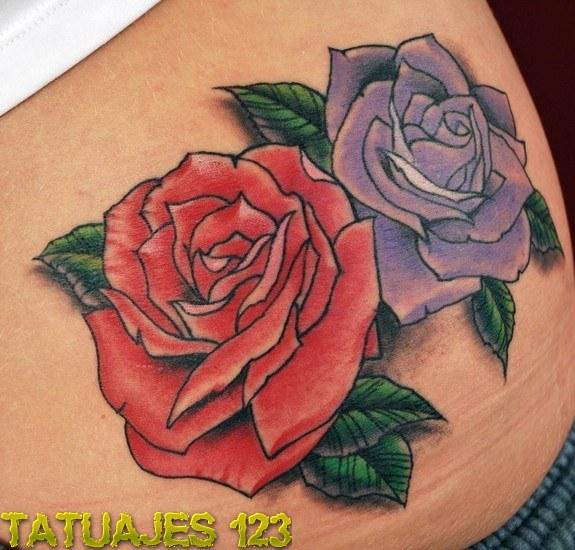Dos rosas en color tatuajes 123 - Tattoo disenos a color ...
