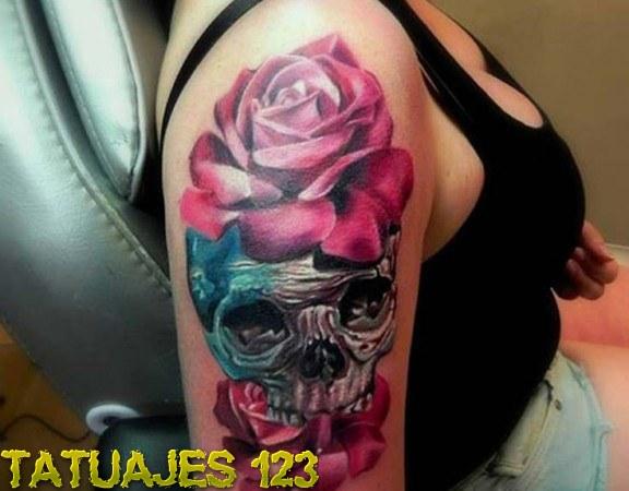 Calavera Entre Dos Rosas Tatuajes 123