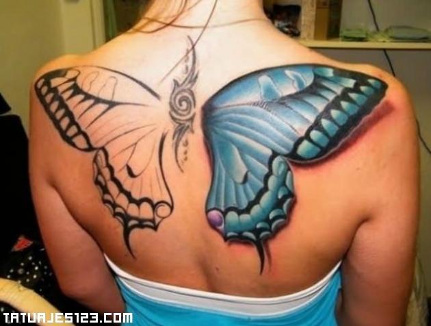 Tres estrellas y una mariposa en pie - Tatuajes, Fotos