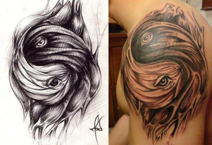 genial tatuaje de ojos en el hombro - tatuajes 123