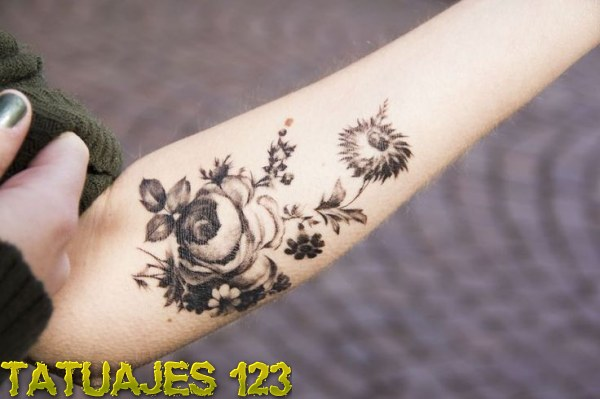 Black And White Vintage Flowers Tattoo