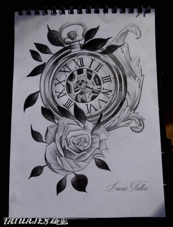 Dise o de reloj y rosa tatuajes 123 - Relojes de pared diseno ...