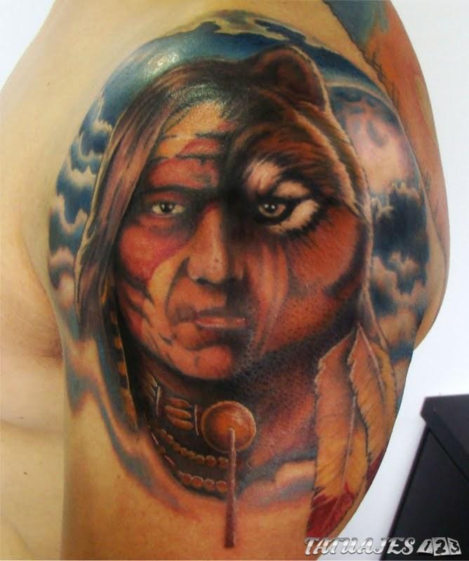 rostro indio tatuaje