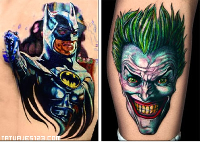 Joker y batman plasmados en un tattoo