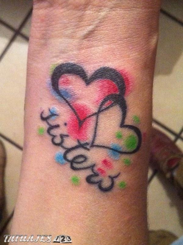 Tatuaje de corazones hermanas Tatuajes 123