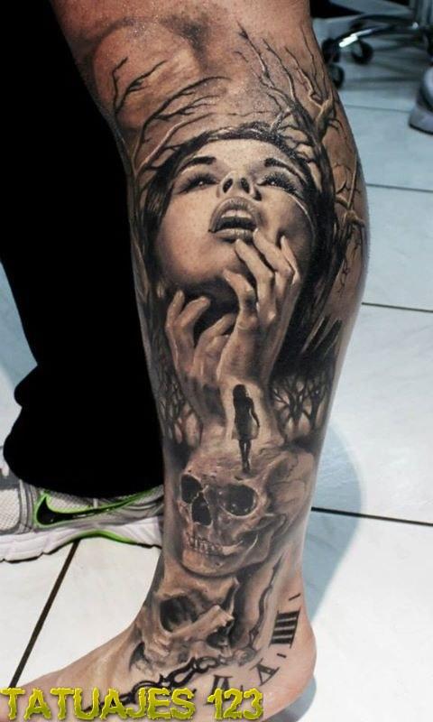 Rostro De Mujer Y Calavera Tatuajes 123