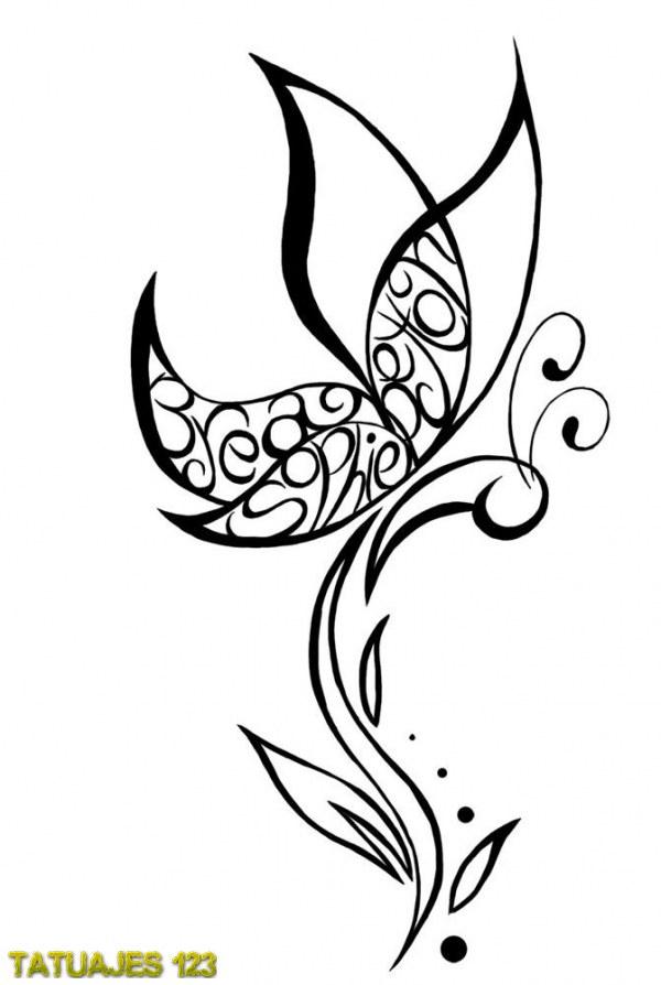 tatuaje de mariposa con nombres tatuajes 123. Black Bedroom Furniture Sets. Home Design Ideas