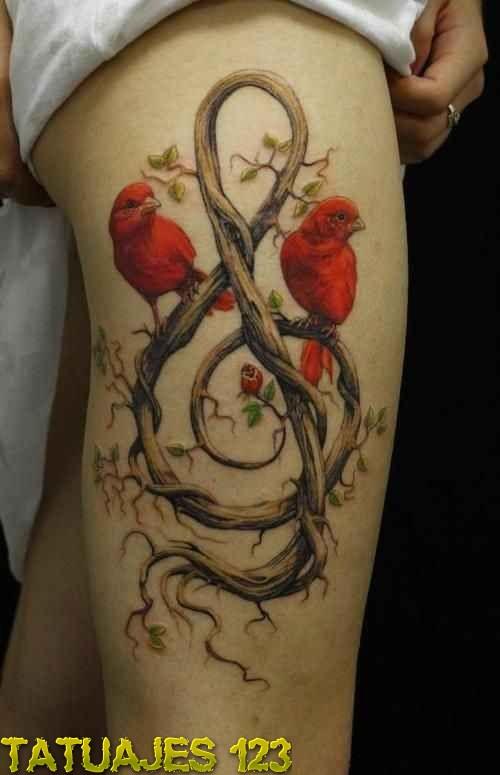 Nota musical con dos bonitos pájaros