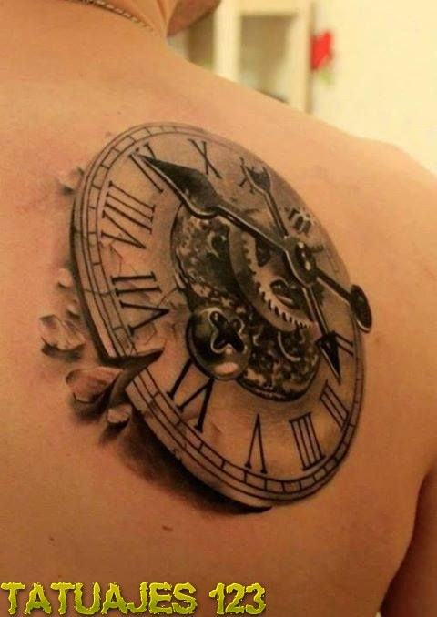 Reloj 3d En Hombro Tatuajes 123
