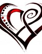 Diseño de corazón tribal en rojo