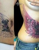 Tatuaje cover up con alas