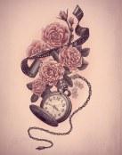 Diseño de tatuaje con flores y reloj