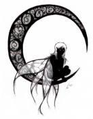 Un hada sobre la luna