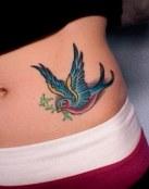 Pájaro multicolor con rama en el pico
