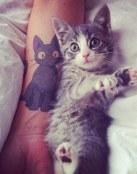 Tatuaje de gato y gatito