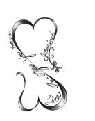 Infinito con corazones y mensaje