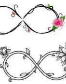 Tatuajes de infinito con letras y corazones