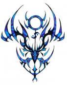 Tribal azul con rostro