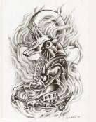 Tatuaje de guardián del antiguo Egipto