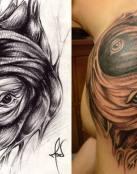 Genial tatuaje de ojos en el hombro
