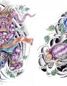 Varios tatuajes de tipo oriental
