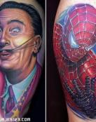 Rostro de Spiderman y otro hombre