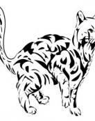 Tatuaje de gato sorprendido