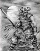Guerrero vikingo armado a dos manos