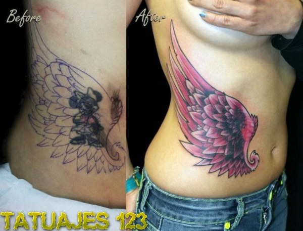 Tatuaje cover up con alas