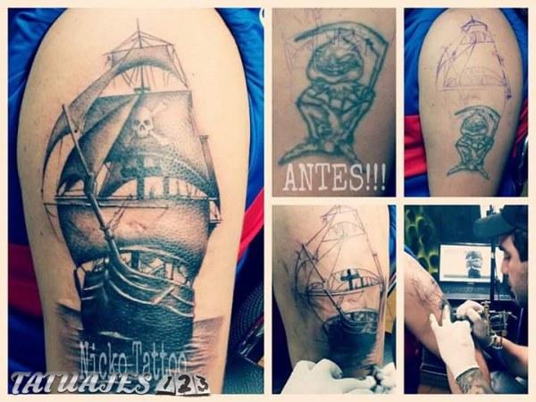 Cover up de duende a barco pirata