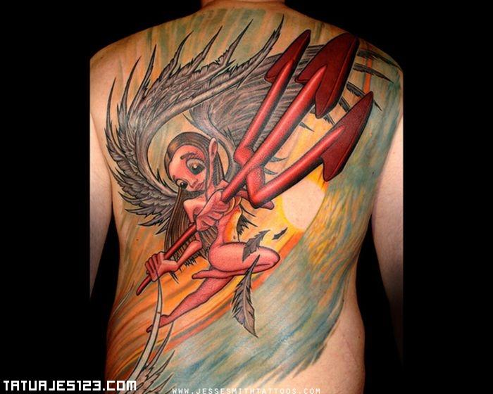 Demonio Con Gran Tridente Tatuajes 123