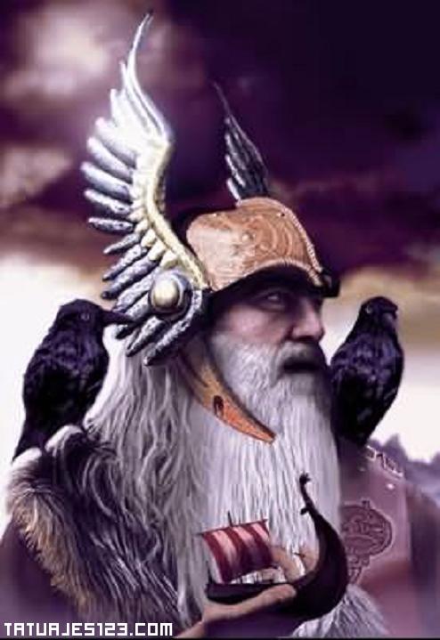 Dios vikingo con un barco en su mano