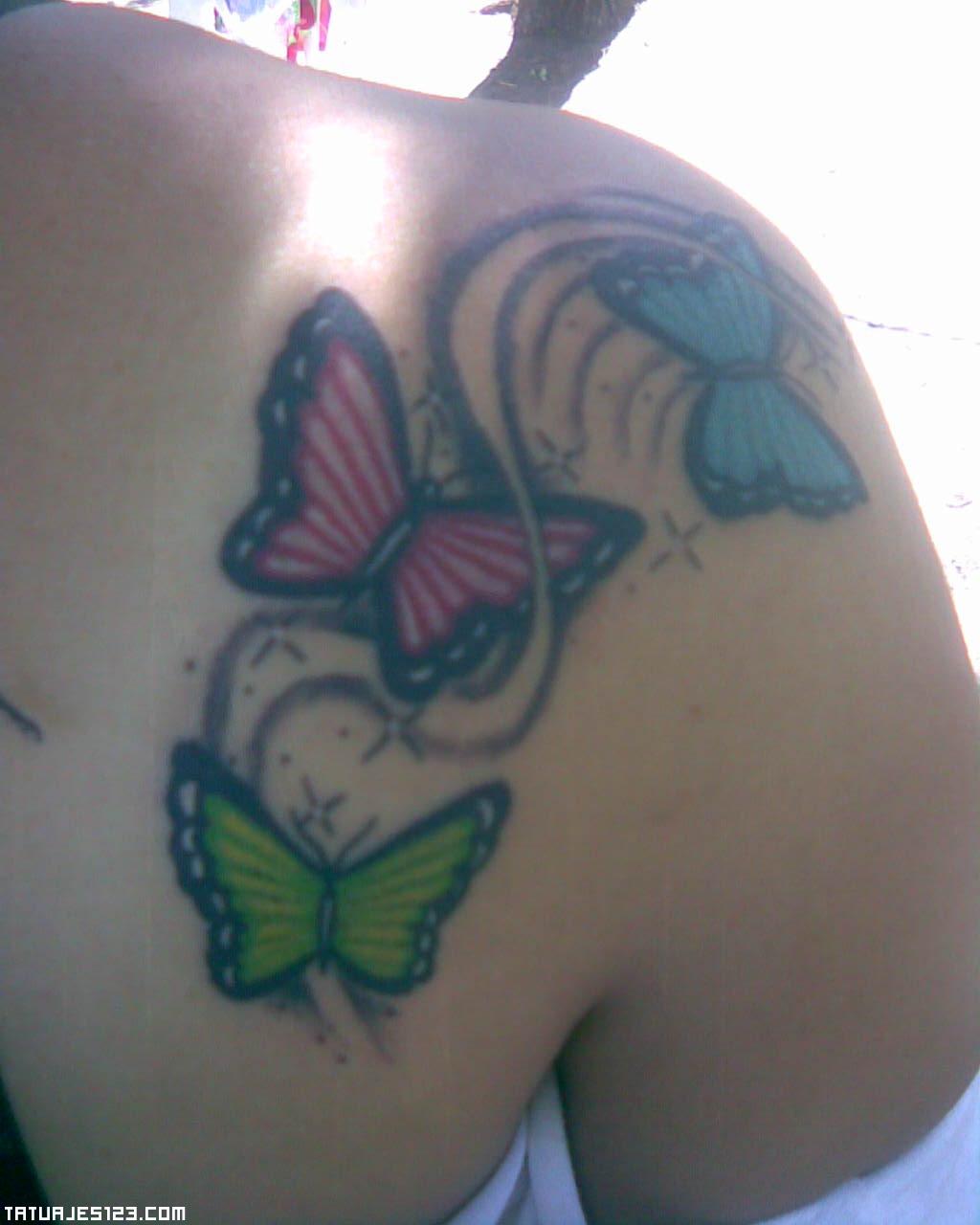 Varias mariposas de colores dejas una estela