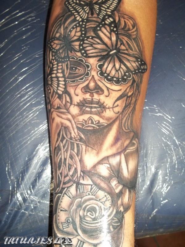 Catrina tattoo sombras