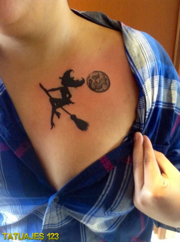 Silueta De Bruja En El Pecho Tatuajes 123