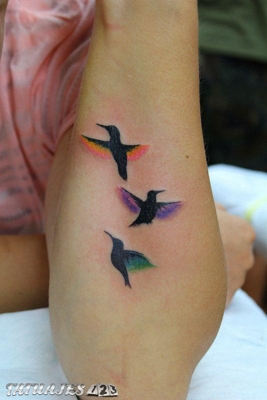 Pájaros en color para el brazo