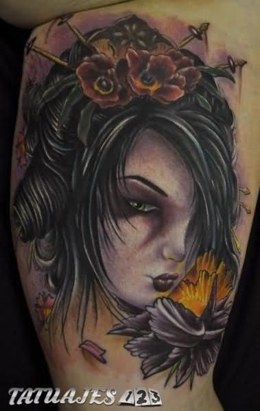 Rostro De Geisha Con Flores Amarillas Tatuajes 123