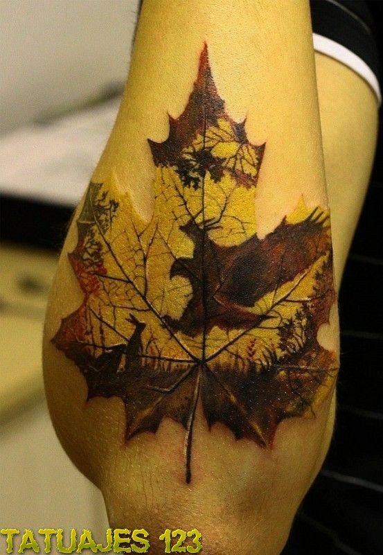 Tatuaje hoja y naturaleza