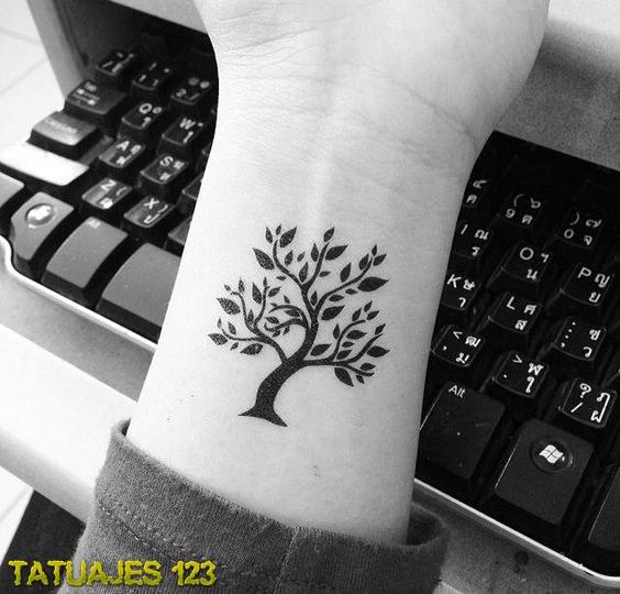 Árbol en la muñeca - Tatuajes 123